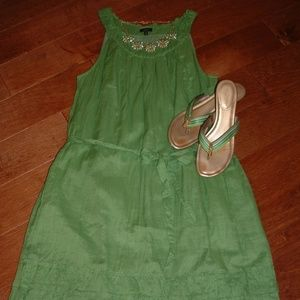 Talbots Size 14 Lime Green A-Line Dress